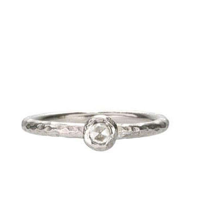 18k White Gold Single Pebble Diamond Ring Fine Artisan Jewelry Mia Gemma