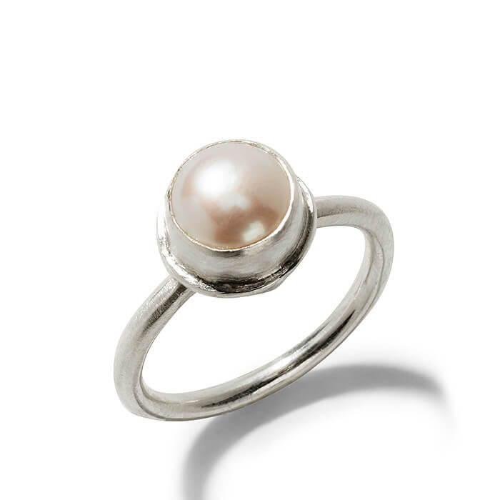 Simple Silver Pearl Ring Fine Artisan Jewelry Mia Gemma