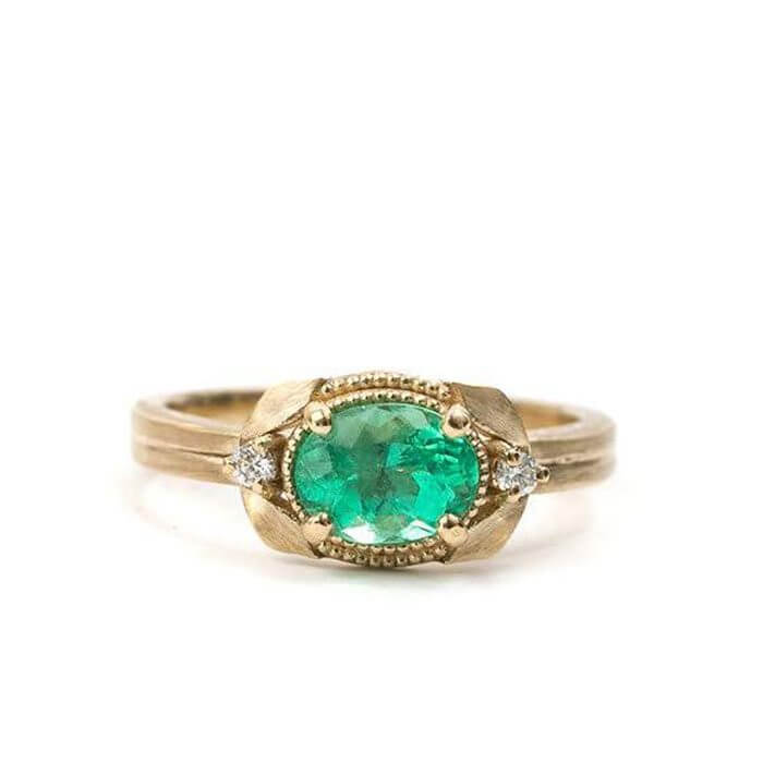 Gold Laurel Leaf And Oval Emerald Ring With Diamonds